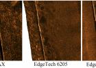 Фрагменты гидролокационной съемки разными приборами на обнаженном участке МПТ.